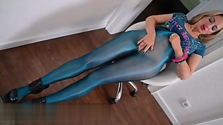 Entertaining herself in her shiny blue tights