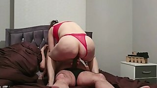 Step mom can't handle 12 inch of dick from step son and screams