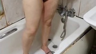 Step mom caught on hidden camera in the bathroom after fuck with step son