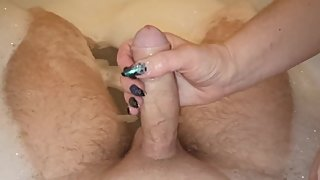 StepMom POV handjob in the bathroom