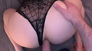 PAWG deepthroats big dick with no hands and gets cum on her big ass