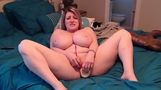 Horny Busty Chubby Milf Fucks Herself