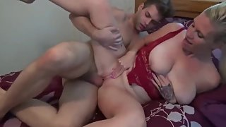 Shameless MILF with big saggy tits with her stepdaughter's boyfriend