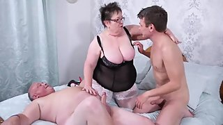 Two daddy fuck chubby stepmommy.