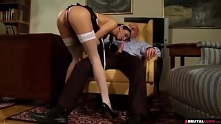 French maid is wearing a super sexy uniform and having tons of fun with her