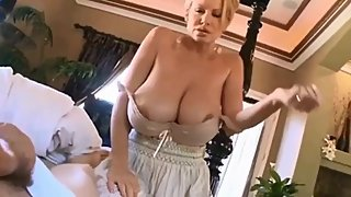 Naughty mature MILF woke up her roommate with her big boobs