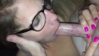 Milf with glasses suck dick and get cum in mouth