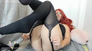 NYLON STOCKING BODY SUIT AND FOOTJOB TEASER