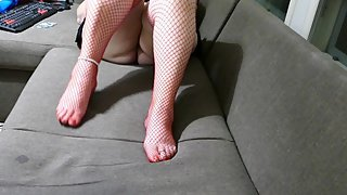 Just relaxing red fishnet stay ups