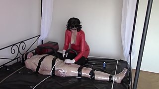Handjob in white medical gloves and vacuum cleaner