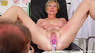 Gyno Exam of blonde granny