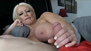 Shameless mature MOM with big tits seduces and fucks young boy