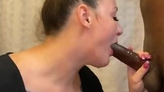 Horny Young Slut Eats Random StrangerТs BBC in a Hotel Bathroom