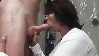 Naughty mature MILF likes to suck young cock while husband gone