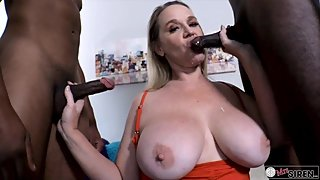 Cuckold Wife Fucking a Couple of Big Black Cocks