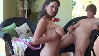 Taboo! Naughty stepmom having fun with her lucky 18yo stepson