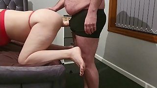 Step mom can't handle 12 inch of dick from step son ending with no fuck