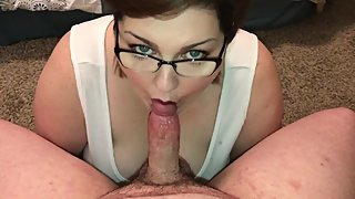 Chubby BBW MILF drains a cock with a sloppy blowjob