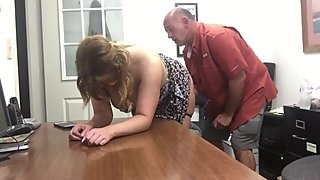 Horny mature wife having fun with her boss after interview