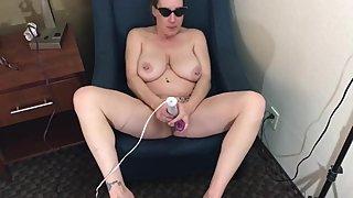 Big tit mom has creamy cum with her dildo