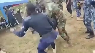 Police officers play with the devil