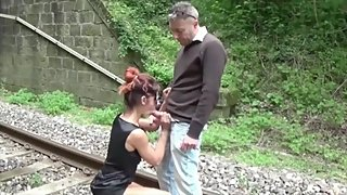 Chantal fucked by Max on the railroad